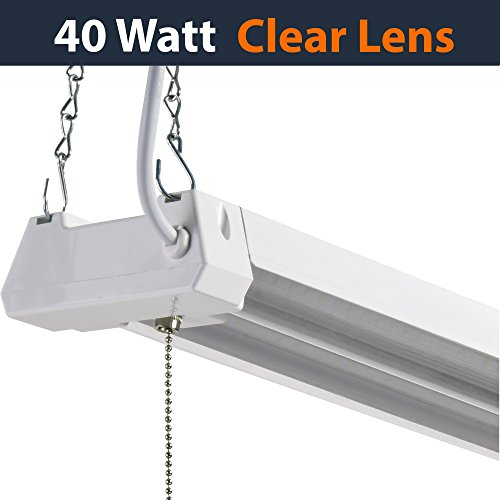 40w Led Shop Light Garage Light W Pull Chain: LED 4ft Utility Shop Light-40W, 5000K, Non-Linkable, Clear